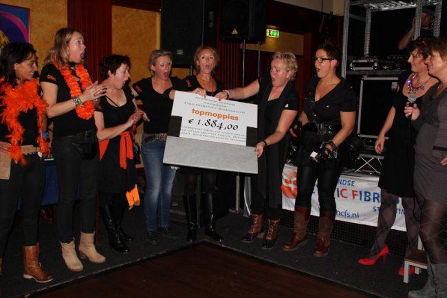 Cheque voor Topmoppies van Fysiotherapiepraktijk Rozengracht!